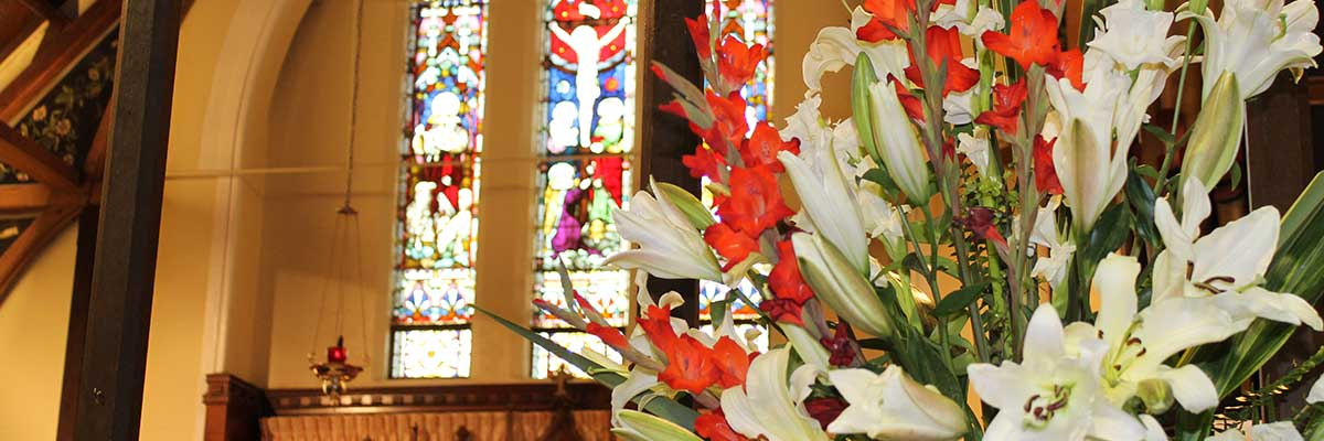 St James Church Stained Glass Windows & Floral Display